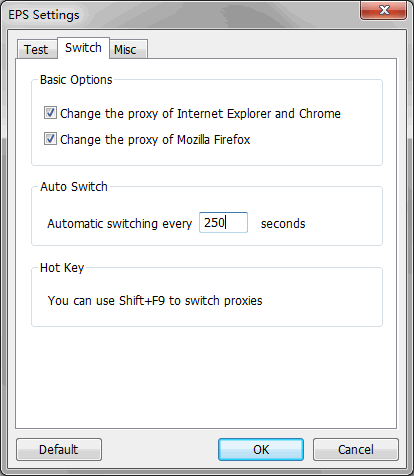 Elite Proxy Switcher Setting Dialog
